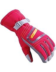 9-14 Years Old Children Outdoor Gloves Waterproof Windproof Gloves, Red