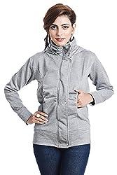 TeeMoods Womens Fleece Cotton Blend Full Sleeves Melange Sweatshirt Hoodie Jacket With Zip For Ladies (Medium)