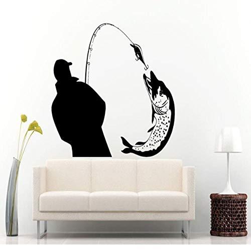 Fischer Fang Ein Riesiger Fisch Silhouette Wandtattoos Wandbilder Home Wohnzimmer Kunst Mode Dekor Wand Poster Angeln Aufkleber 57X66 Cm