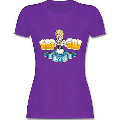 Oktoberfest Damen - Wiesn Madl Bierkrüge - tailliertes Premium T-Shirt mit  Rundhalsausschnitt für Damen