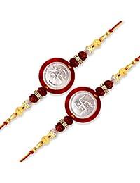 Milan Jewellers (0132) Multicolour 99.5% Fine Silver Om Swastik Rakhi Combo