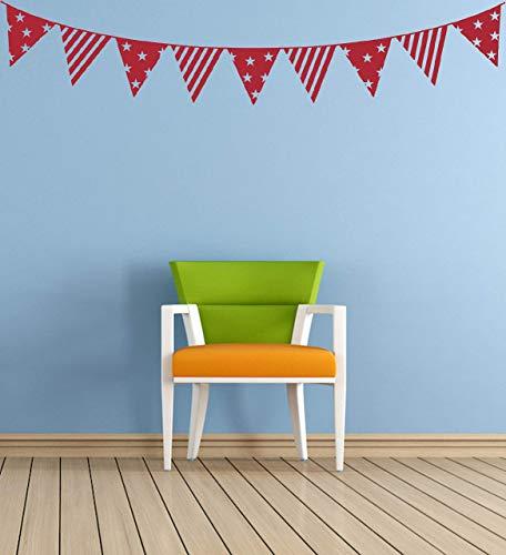 Ammer, Bunting, dekorative Vinyl Wandkunst Aufkleber, Wandbild, Aufkleber. Haus, Wand, Fenster, Spiegeldekor. Stars & Streifen, 4. Juli, Tag der Unabhängigkeit, Flagge (Bunting 4. Juli)