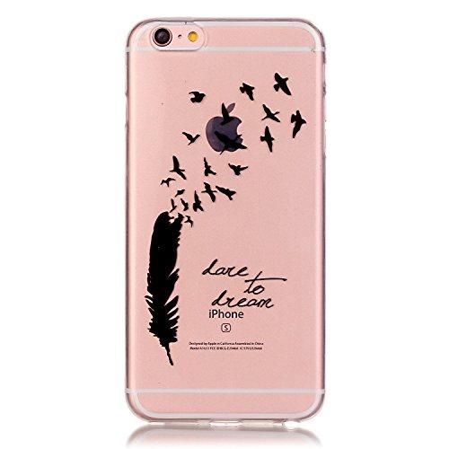 Pheant® Apple iPhone 6/6S (4.7 pouces) Coque Gel Étui Housse de Protection Transparent Cas en TPU Soulple Silicone(Coloré Plume) Plume Noir