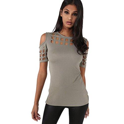 Zarupeng vuoto aderente T-shirt girocollo popolare senza spalline Maglietta Donna
