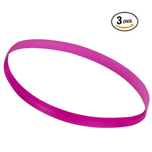 UPmall Bandeau de sport antidérapant élastique doublé en silicone 2cm de largeur, Homme femme Enfant, rose rouge