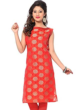 ILLAHI Banarasi Silk Stylish Orange Women's Straight Kurta