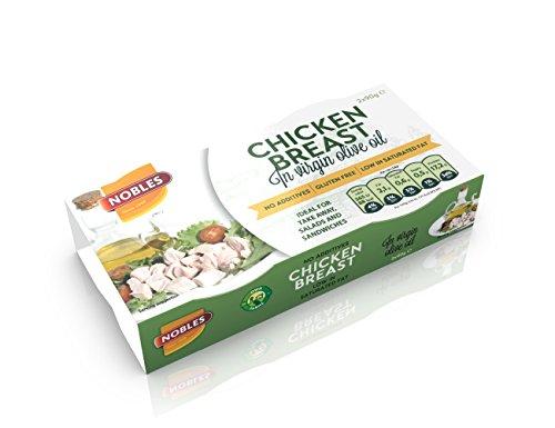 Nobles Konservendose befüllt mit Hähnchenbrust in nativem Olivenöl Bereit zu Essen. 26% Eiweiß, 98% fettfreie und zuckerarme Lebensmittel- Packung mit 16 x 180 gr