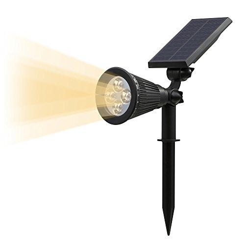 T-SUN Spot Leuchte Solarleuchten, 2-in1 Gartenleuchte, 200 Lummen Wasserdicht LED Solarleuchte, Drahtlos Solarbetriebene Sicherheit Außenstrahler mit Erdspieß für die Hinterhöfe, Gärten, Rasen, Outdoor Landscape usw (Warmweiße) (Dusk To Dawn Outdoor-beleuchtung-led)