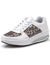 more photos 2e3a8 e5af1 Qiusa Zapatillas Gliter Shoes Mujer Lace Up Rocker Sole Platform (Color    Blanco, tamaño