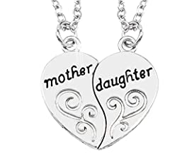 Idea Regalo - Inception Pro Infinite Due Collana di Un Ciondolo A Forma di Cuore Spezzato A Meta' con Scritta Mother Daughter Madre E Figlia Idea Regalo