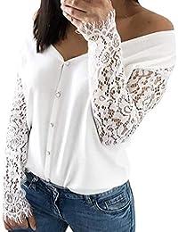 f3b0136e692c Longra Damen Bluse Elegante Blusen mit Spitzen Schulterfreie Oberteil  Schöne Blume Hemd Blusen Weiß Spitzenbluse Lace