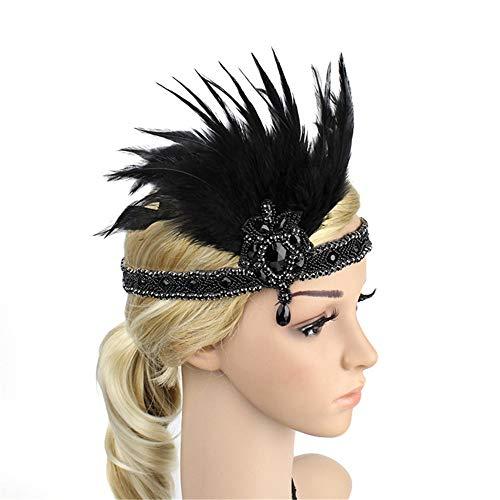 (MOIKA 1920er Jahre Kopfschmuck Feder Flapper Stirnband Great Gatsby Kopfschmuck Vintage Haarband für Cocktail Hochzeit Teeparty)