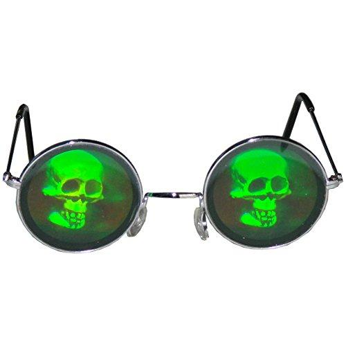 3D Horror Hologrammbrille Totenkopf Brille des Grauens Scherzartikel Funbrille Komplettbrille