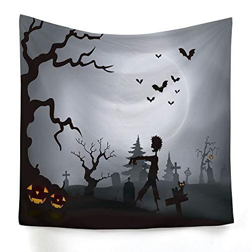 xkjymx Hängetuch Dekotuch Halloween Druckteppich Bild 7 200X150cm (Sahne Quadratischen Tischdecken)