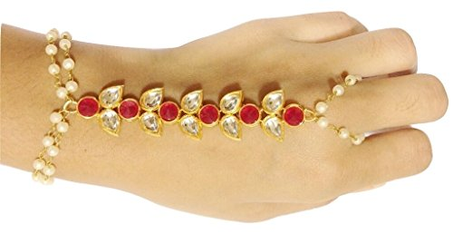 Kundan Haath Panja Phool (Bracelet with Finger ring) Jewellery for Women  available at amazon for Rs.199