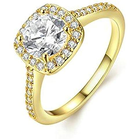 AnaZoz Anillo de Banda Boda Para Mujer Chapado en Oro Diamantes de Imitación de Cristal Cuadrado Solaire Anillo de Compromiso Tamaño 9,5-20