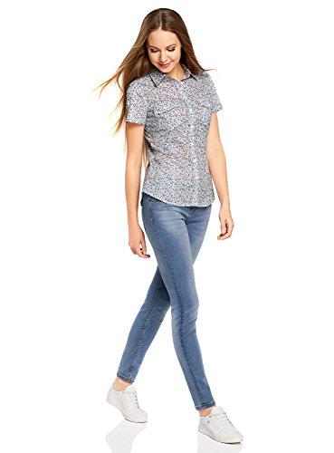 oodji Ultra Damen Baumwollhemd mit Brusttaschen Elfenbein (1241F)