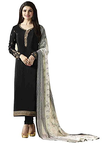 Stylish Fashion Prachi Desai Black Embroidered Semi Stitched Straight Salwar Suit