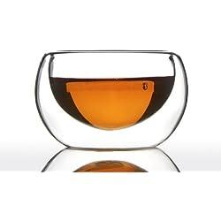 Unihom - tazza da caffè in vetro a doppia parete, fatta a mano - (Azzinoth 50ml, Set da 6)