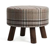 Preisvergleich für YYdy-Polsterhocker Mehrzweck Kleine Hocker für Wohnzimmer Leinen Tuch Massivholz Hocker Bein Einfache Mode Stil Durchmesser 45 cm (18 in), höhe 35 cm (14 in) (Farbe : C)