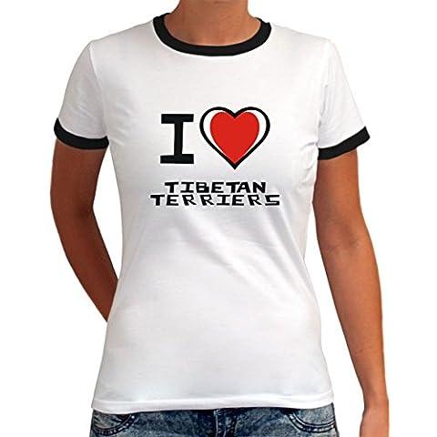 Maglietta Ringer da Donna I love Tibetan Terrier