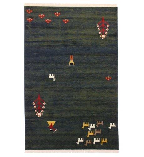 Gabbeh Colletion - Alfombras Persas Modernas Tamaño Grande, Mediana o Chica en Colores Rojo Azul Marino Crema y Dorado - Tradicionales - Disponibles para ser Enviadas al Día Siguiente - 150X100cm 4.9X3.3 pies, Verde