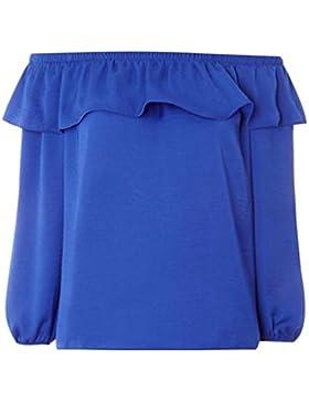 Yuncai Mujeres Color Solido Casual Gasa Camisetas Top Blusa Sin Hombro