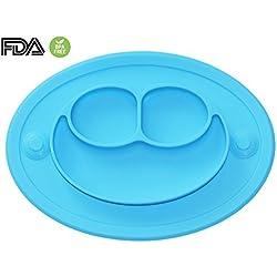 Bebé Niños Mantel Plato de Silicona Infantil Placemat Grado Alimenticio Con Fuerte Succión Ventosa Antideslizante FDA y Sin BPA, Microonda Lavavajillas Congelador Seguro (Azul claro)