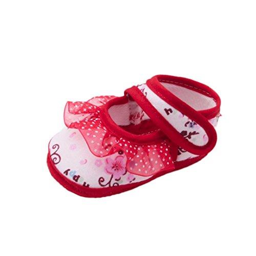 QinMM Neugeborenes Baby Mädchen Weiche Schuhe Soled Lace Blumendruck Schuhe Krippe Schuhe Hause Außerhalb Niedlichen Sneaker Rosa Rot 11-13 (13(12~18 Month), Rot) (Nike-krippe Schuhe)