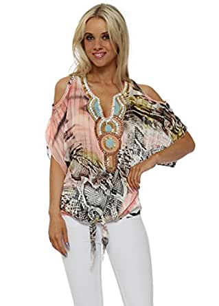 d5a5c2b0caa6c2 French Boutique Coral Snake Print Beaded Cold Shoulder Top One Size Peach  Coral