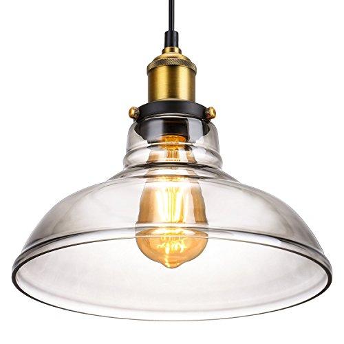 Vintage Retro, lámpara colgante industrial de metal, pantalla de cristal gris antiguo Oak Leaf E27 para cocina y bar