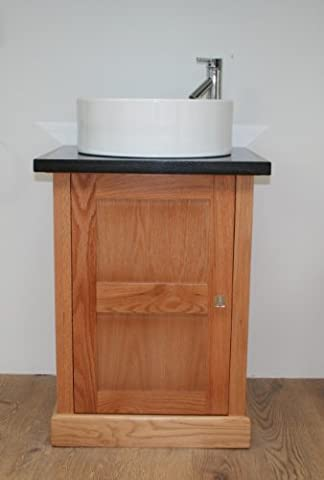 Solid Oak Vanity Unit with Granite Counter Top and Tap