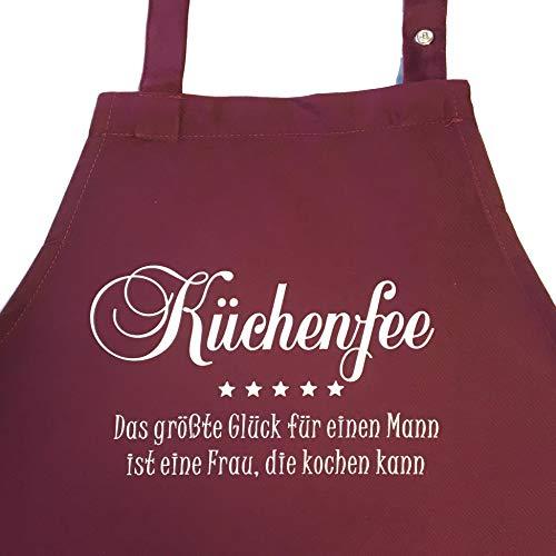 N°1 KÜCHENFEE - Das größte Glück für einen Mann ist eine Frau, die kochen kann - Kochschürze mit verstellbarem Nackenband und Seitentasche (bordeaux)