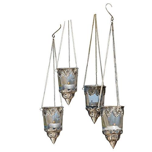 LOBERON Windlichter 4er-Set Céleste, Dekoration, Glas, H/Ø ca. 12/7 cm, klar/silber