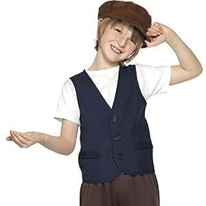 Costume de paysan médiéval pour garçon fermier déguisement brun et bleu Taille M 140 cm déguisement du Moyen-âge costume de carnaval pour enfant déguisement de mendiant garçon des rues mendiant