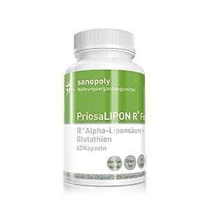 100% reine & hochwertige R(+)-Alpha-Liponsäure || PriosaLIPON® R FORTE | perfekte Kombination mit L-Glutathion | bekämpft freie Radikale – perfekt gegen oxidativen Stress | geprüfte Qualität | vegan | 63 Kapseln