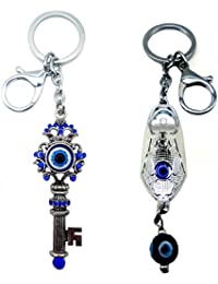 City Choice Combo Of Key Shape & Shoe Shape Evil Eye Hook-Locking Keyrings