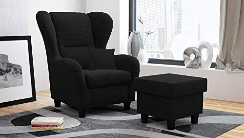 lifestyle4living Ohrensessel mit Hocker in Schwarz im Landhausstil | Der perfekte Sessel für entspannte, Lange Fernseh- und Leseabende.