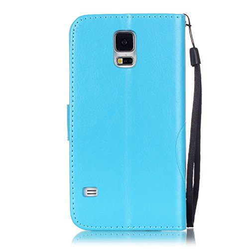 Prägen Blumen-Case, Magnetverschluss Synthetische PU-Leder-Kasten-Abdeckung mit hängenden Seil und Wallet-Funktion für Samsung S5 MINI ( Color : Pink , Size : Samsung S5MINI ) Blue