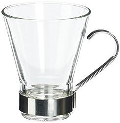 Bormioli Rocco Ypsilon Cappuccino Cups with Metal Handle, Clear, Set of 6
