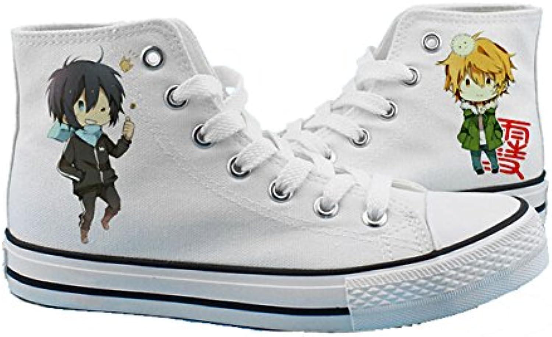 Noragami yato – Yukine Zapatos de Cosplay Lienzo Zapatos Zapatillas Deportivas Negro/Blanco  -