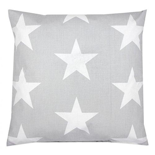 TupTam Kissenhülle Dekorativ Gemustert Dekokissen Baumwolle, Farbe: Grau Große Weiße Sterne, Größe: 40 x 40 cm (Dekoratives Sterne-kissen)