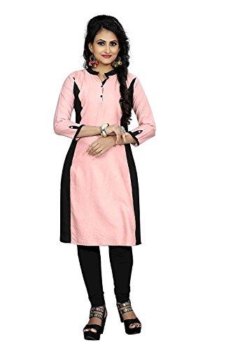 J B Fashion Women's Reyon Multi Color Kurti (X-Large, PINK)