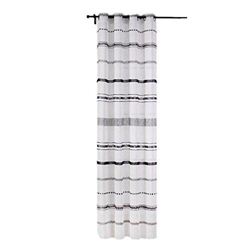 Sheer Vorhänge Schwarz-Weiß-Streifen Drucken Einfache Vorhänge Für Wohnzimmer Fenster Screening Ösen Sheer Voile Vorhang (52X84inch) -1 Stück , 1*(56X96inch) -