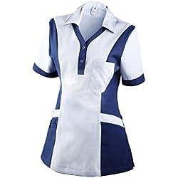 Clinotest Damenkasack Julia, Gesundheitswesen, Pflege (S, Weiß/Blau)