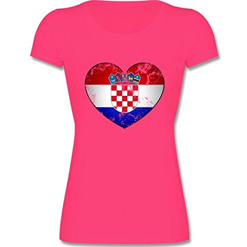 Fußball-Weltmeisterschaft 2018 Kinder - Kroatien Vintage Herz - 164 (14-15 Jahre) - Fuchsia - F288K - Mädchen T-Shirt (Kleine Fuchsia Kinder Bekleidung)