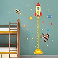 EUFJSDHF Wall Sticker DIY Outer Space Planet Monkey Pilot Rocket Home Decal Height Measure Wall Sticker for Kids Room Baby Nursery Growth Chart Gifts 100X180Cm