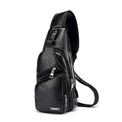 41lfTbjp5qL. SS416  - Pawaca - Bolso Bandolera para Hombre, Piel sintética, con Puerto USB, para Negocios, Senderismo, Viajes