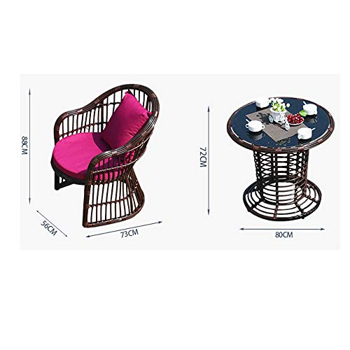 VBARV Outdoor furniture wicker dining table and chair (set of 5), tempered glass table top, washable