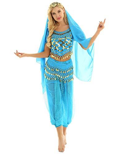 YOOJIA Damen Bauchtanz Kostüm Set Indische Tanz Kleidung mit Münzen 4-teilig, mit Oberteil, Hose, Hüftschal, Schleier Karneval Kostüm See Blau One Size (Kostüm Für Indische Tänze)